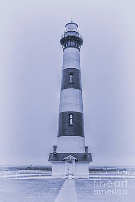 Rainy Day Digital Art - Bodie Island Lighthouse In Blue by Randy Steele