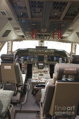 Flightdeck Photograph - Boeing 747-8 Flight Deck by Mark Williamson