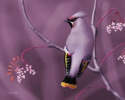 Digital Art - Bohemian Waxwing by John Wills