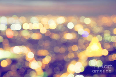 Neon Photograph - Bokeh, Blur Of A Big City Lights At Night. Nightlife Background by Michal Bednarek