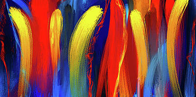 Vibrant Color Digital Art - Be Bold - Primary Colors Abstract Art by Lourry Legarde