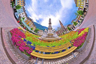 Photograph - Bolzano Main Square Planet Perspective Panorama by Brch Photography