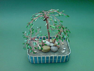 Ceramic Beads Sculpture - Bonsai Wire Tree Sculpture Beaded Palm  by Bujas Sinisa