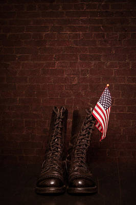 Police Photograph - Boots With Flag by Erin Cadigan
