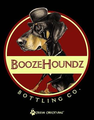 Drawing - Boozehoundz Bottling Co. by John LaFree