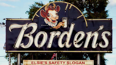 Photograph - Borden's Dairy Sign by L O C