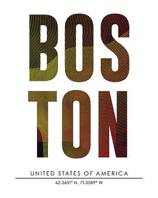 Mixed Media - Boston, United States Of America - City Name Typography - Minimalist City Posters by Studio Grafiikka