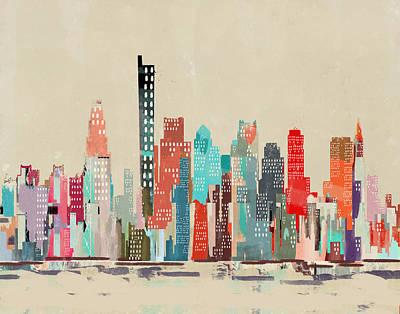 Painting - Boston City Skyline by Bleu Bri