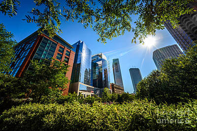 Landmarks Royalty-Free and Rights-Managed Images - Boston Downtown City Buildings Through Trees by Paul Velgos