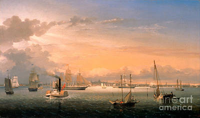 South Boston Painting - Boston Harbor by Celestial Images