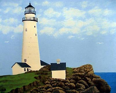 Historic Lighthouse Images Painting - Boston Harbor Lighthouse by Frederic Kohli