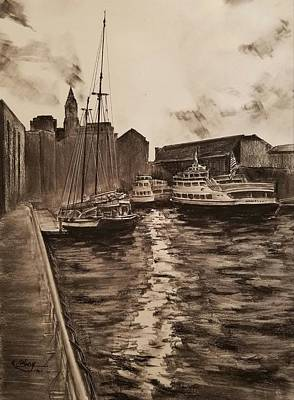 Drawing - Boston Harbor by Rose Wang