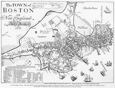Boston Map, 1722 Print by Granger