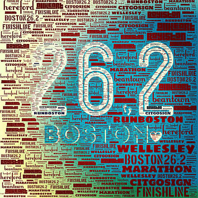 Boston Ma Digital Art - Boston Marathon by Brandi Fitzgerald