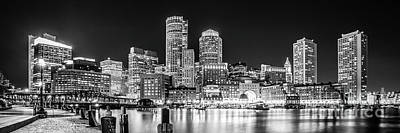 Boston Skyline Panoramic Photograph - Boston Skyline Black And White Panorama Photo by Paul Velgos
