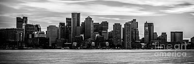 Boston Skyline Panoramic Photograph - Boston Skyline Black And White Panoramic Picture by Paul Velgos