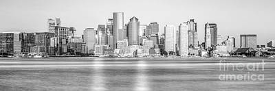 Boston Skyline Panoramic Photograph - Boston Skyline Black And White Picture by Paul Velgos