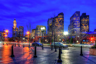 Photograph - Boston Skyline By Night by Joann Vitali