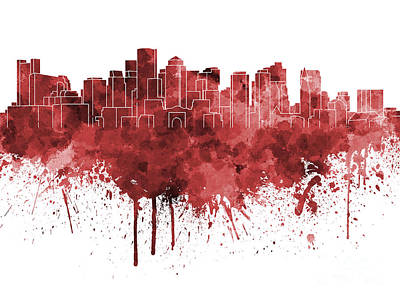 Boston Landmark Painting - Boston Skyline In Red Watercolor On White Background by Pablo Romero