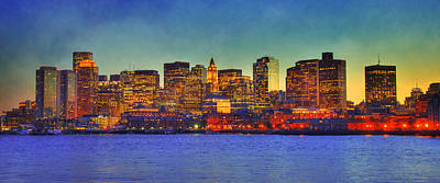 Boston Panoramic Photograph - Boston Skyline Sunset by Joann Vitali