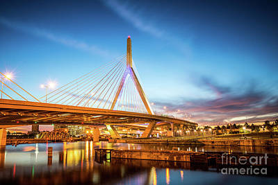 Leonard Photograph - Boston Zakim Bridge At Night Photo by Paul Velgos