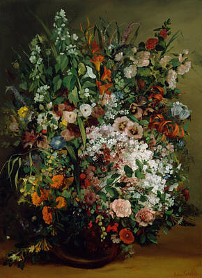 Painting - Bouquet Of Flowers In A Vase, 1862 by Gustave Courbet
