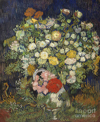 Bouquet Of Flowers In A Vase, 1890 Art Print by Vincent Van Gogh