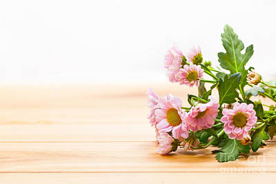 Boards Photograph - Bouquet Of Fresh Spring Flowers On Rustic Wood by Michal Bednarek
