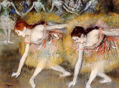 Degas Painting - Bowing Dancers by Edgar Degas