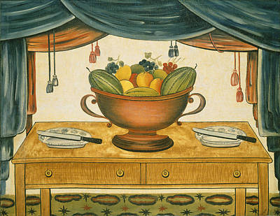 Painting - Bowl Of Fruit by American 19th Century