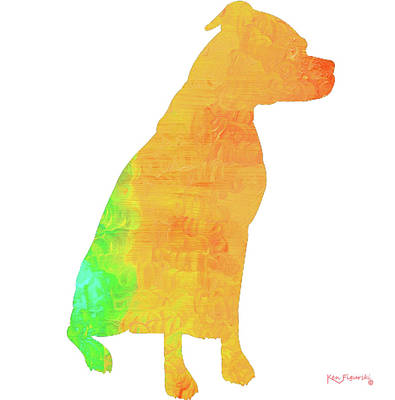 Dog Painting - Sitting Boxer Art by Ken Figurski