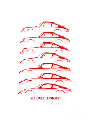 Boxer Sports Car Silhouettehistory Art Print by Gabor Vida