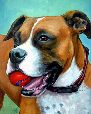 Boxer Dog Art Painting - Boxer With Red Ball by Dottie Dracos