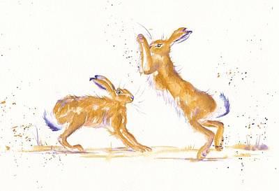 Boxing Hares Original by Debra Hall