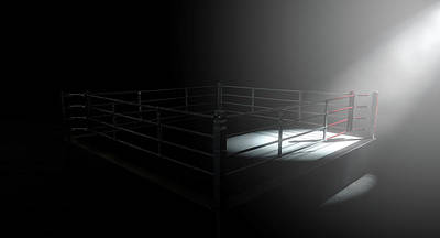 Fight Digital Art - Boxing Ring Corner Lit by Allan Swart
