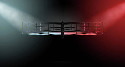 Isolated Digital Art - Boxing Ring Opposing Corners by Allan Swart