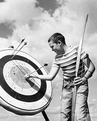 Photograph - Boy Doing Archery by H. Lefebvre/ClassicStock