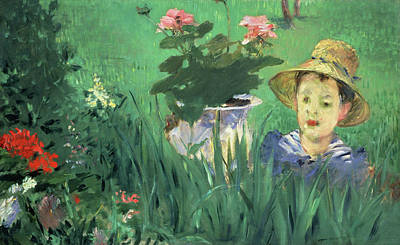 Child Painting - Boy In Flowers, Jacques Hoschede by Edouard Manet