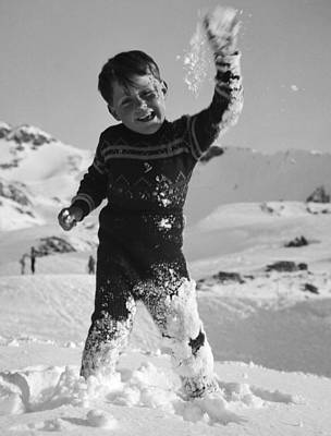 Boy Throwing A Snowball Print by German School