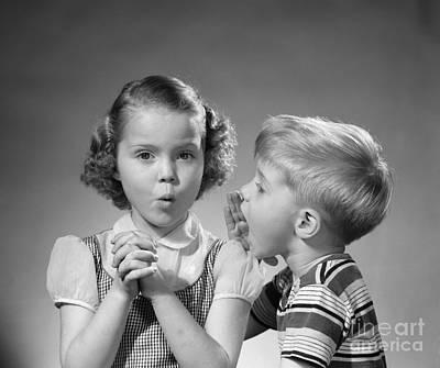 Secret Whispers Photograph - Boy Whispering In Girls Ear, C.1950s by Debrocke/ClassicStock