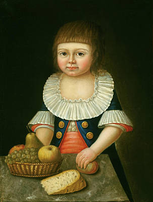 American Food Painting - Boy With A Basket Of Fruit by American 18th Century