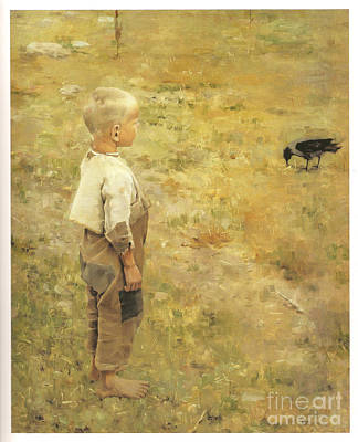 Boy With A Crow Art Print by Akseli Gallen-Kallela