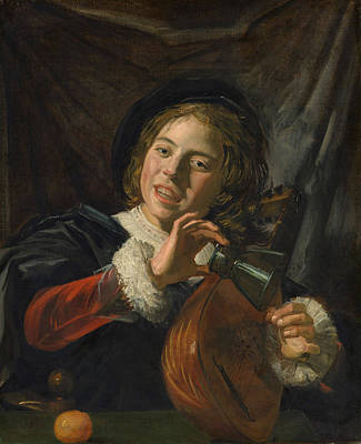 Interior Scene Painting - Boy With A Lute by Frans Hals