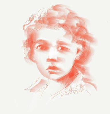 Drawing - Boy With Curls by Jacki Kellum
