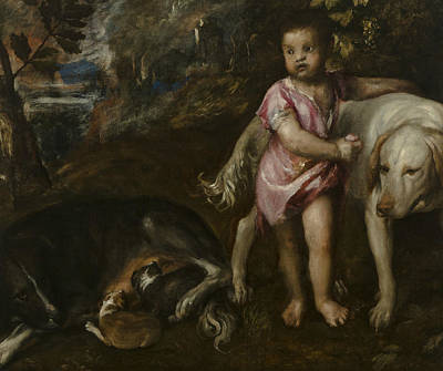 Dog In Landscape Painting - Boy With Dogs In A Landscape by Titian