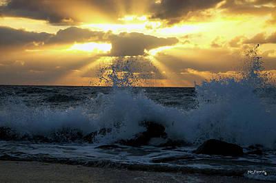 Photograph - Boynton Inlet Heavenly Sunrise And Spray by Ken Figurski