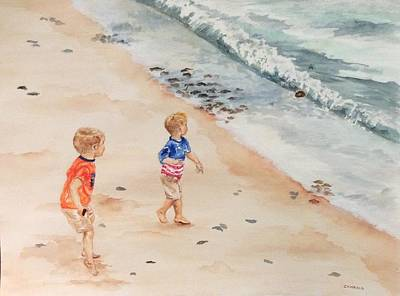 Painting - Boys At The Beach by Ellen Canfield