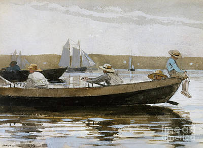 Boats In Reflecting Water Painting - Boys In A Dory, 1873  by Winslow Homer