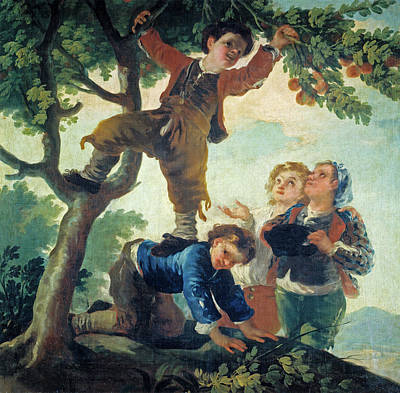 Outdoor Still Life Painting - Boys Picking Fruit by Francisco Goya