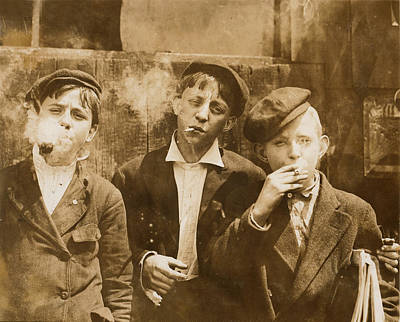 Photograph - Boys Smoking, Original Caption A.m by Everett